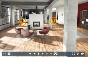 gościnny pokój kominek nowoczesna wykonana w paletteCAD