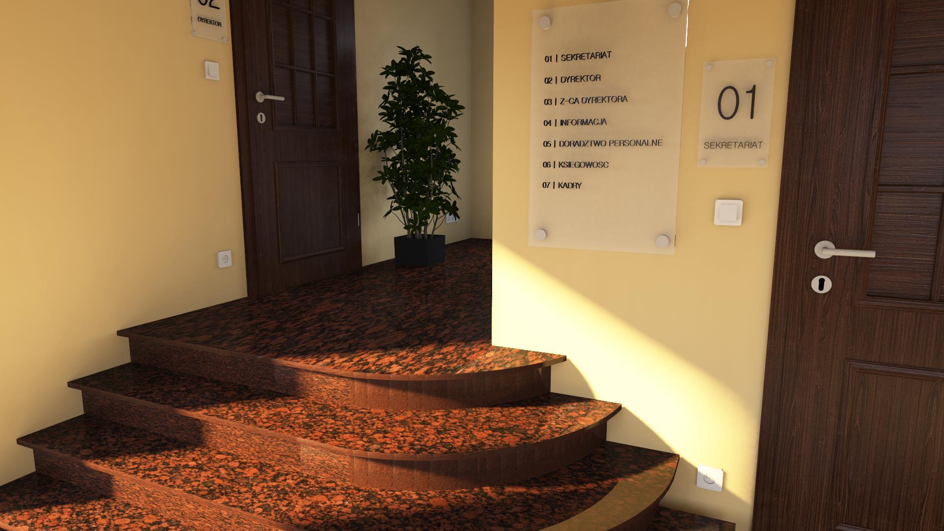 wejście do gabinetu schody wykonane paletteCAD
