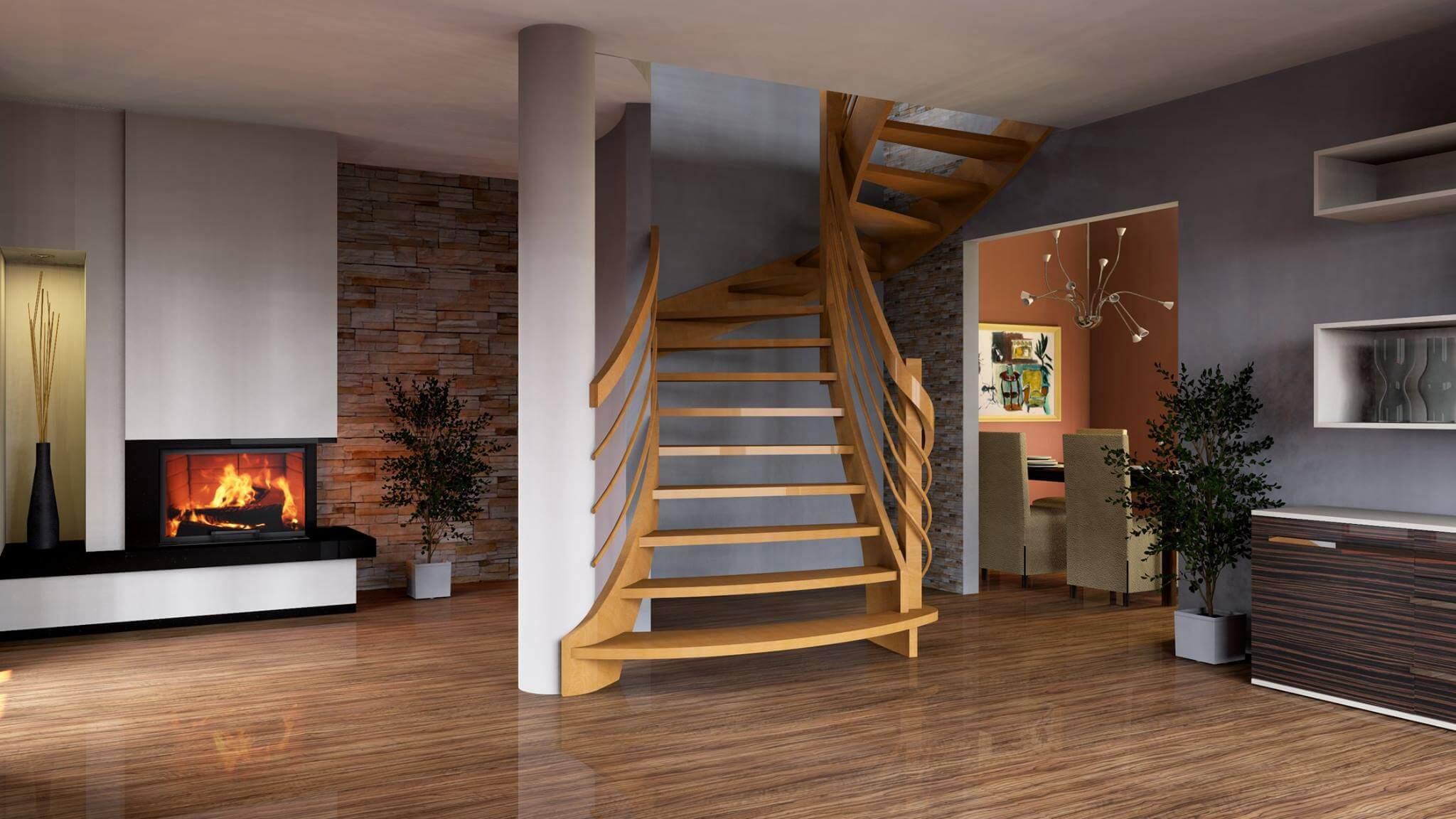 schody elewacja kominek pomieszczenie zaprojektowane w paletteCAD
