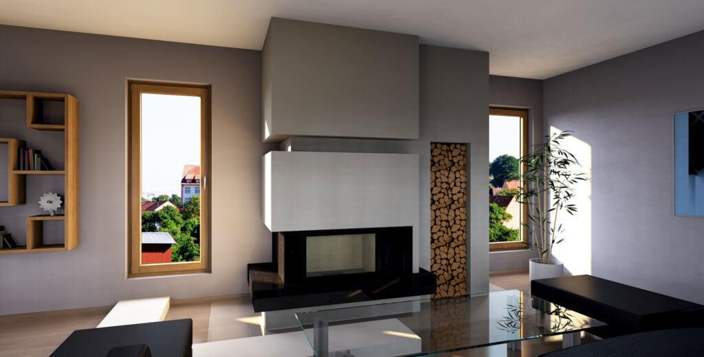 gościnny pokój kominek nowoczesna wykonana w paletteCAD oprogramowanie do projektowania kominków