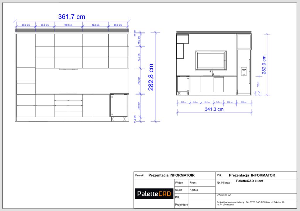 przekrój pokoju wykonany w programie do projektowania kuchni wnętrz