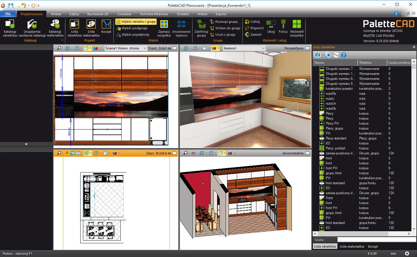Kuchnia wykonana w paletteCAD program do projektowania mebli oprogramowanie do projektowania mebli