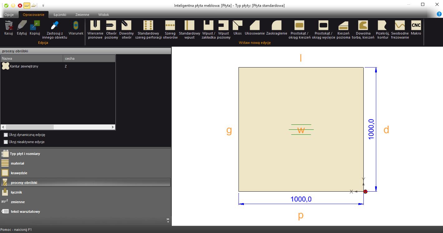 płyta przygotowana w paletteCAD program do projektowania mebli