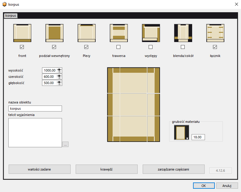 projektowanie korpusu mebli w paletteCAD program do projektowania mebli